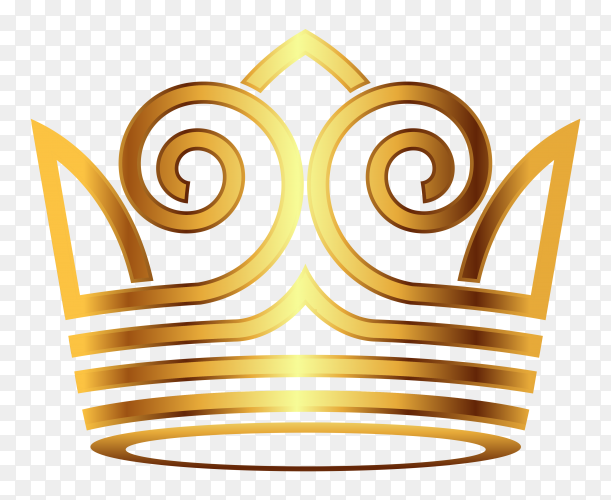 Golden crown modern on transparent background PNG