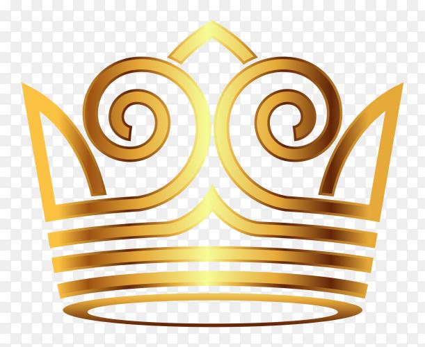 Golden crown modern on transparent background PNG