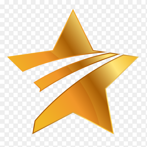 Golden star design on transparent background PNG