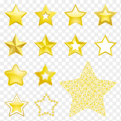 Golden star icon on transparent background PNG