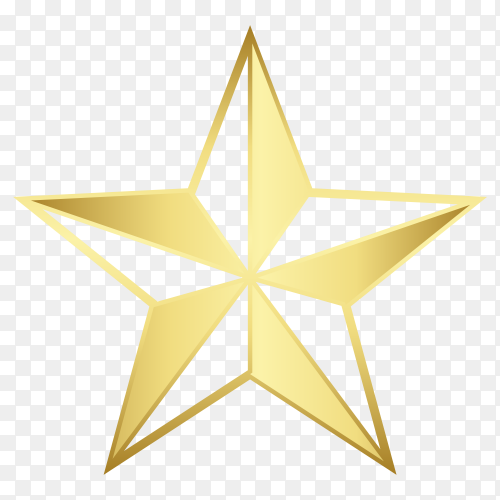 Golden star on transparent background PNG