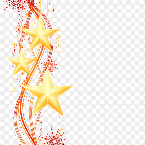 Golden stars with fireworks premium vector PNG