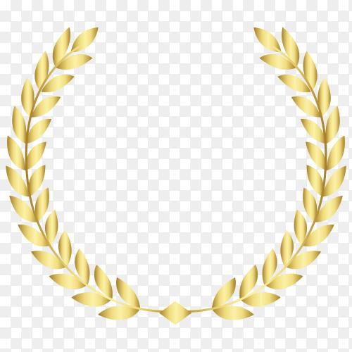 Golden wreath design on transparent PNG