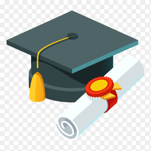Graduation cap with diploma. isolated Premium Vector PNG