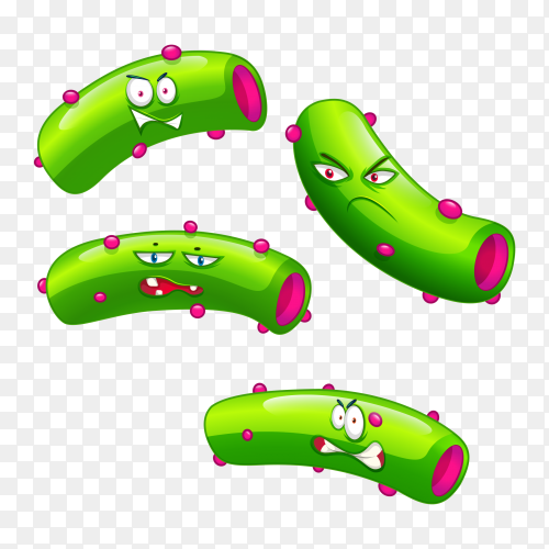 Green Bacteria with facial expressions Premium vector PNG