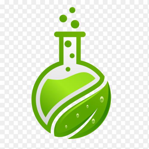 Green Laboratory glassware design on transparent background PNG