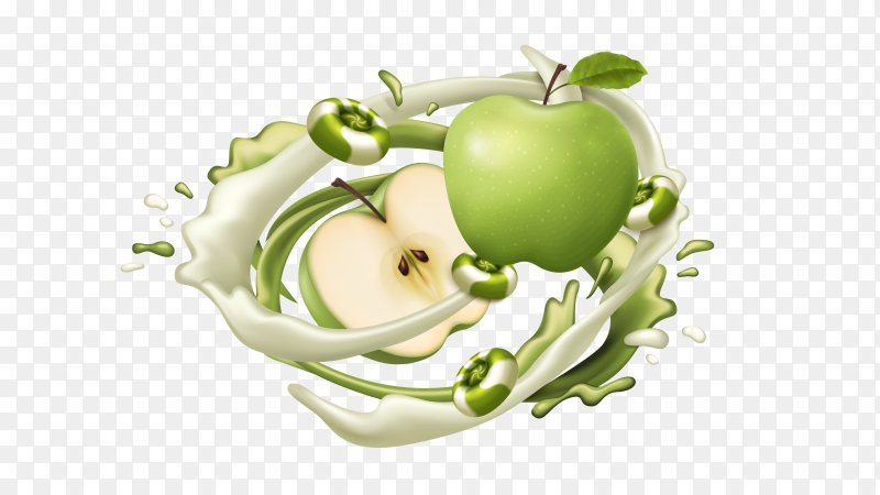 Green apple juice with splashes vector PNG