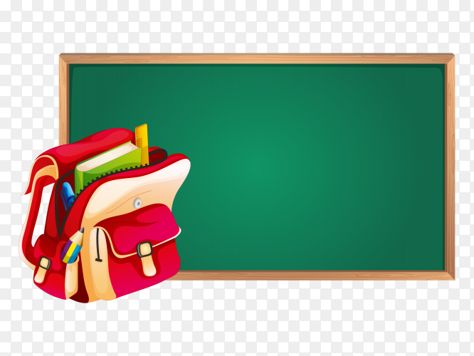 Green board school with Red bag Clipart PNG