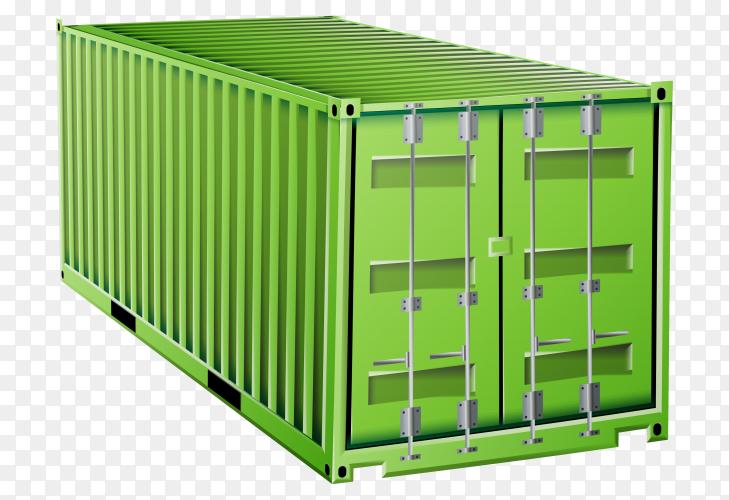 Green cargo container Premium vector PNG