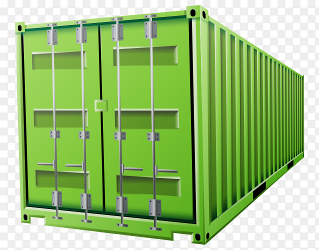 Green cargo container on transparent background PNG