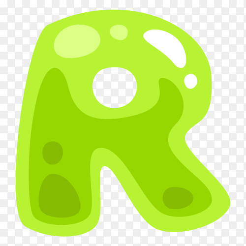 Green color shaped R letter vector PNG