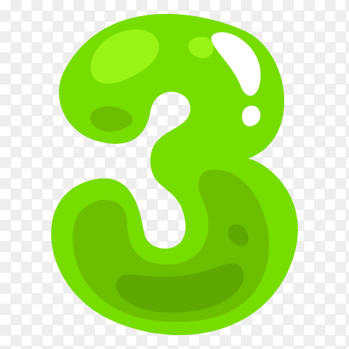 Green color shaped number three on transparent background PNG