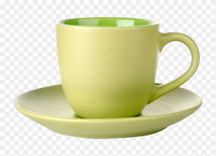 Green tea cup on transparent background PNG