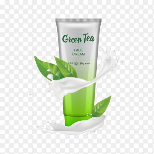 Green tea face cream on transparent PNG