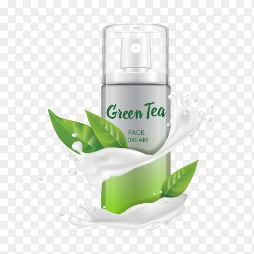 Green tea spray for face on transparent PNG
