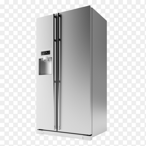 Grey American Style Fridge Freezer Isolated on transparent PNG