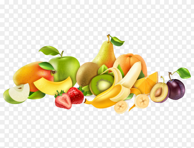 Group of fresh fruits on transparent background PNG