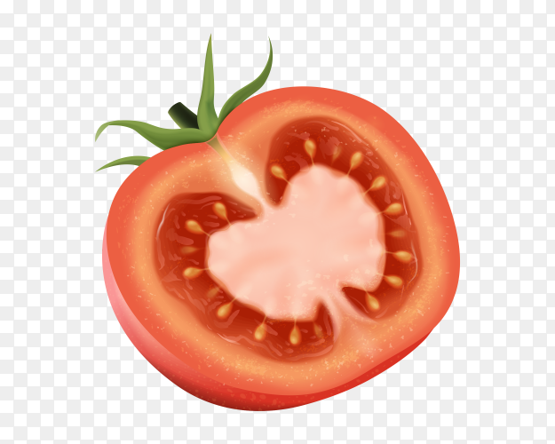 Half tomato on transparent background PNG