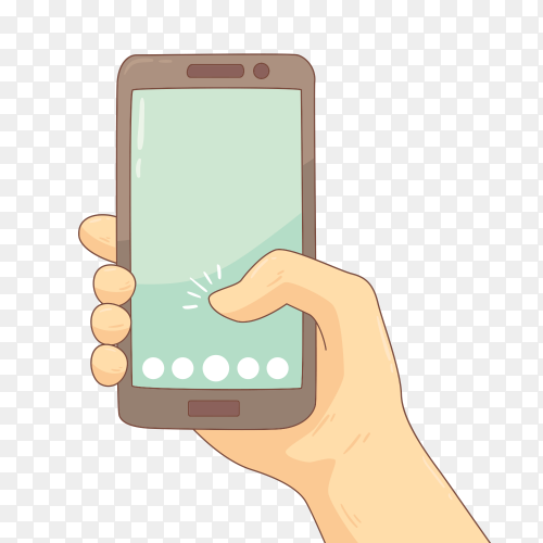 Hand Holding mobile Premium vector PNG