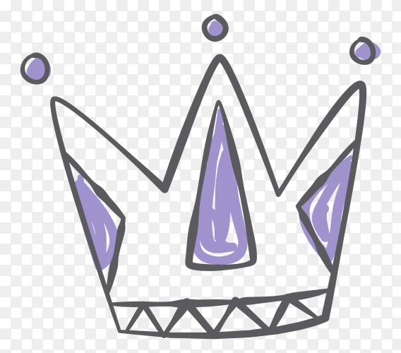 Hand drawn beautiful cartoon crown Premium vector PNG
