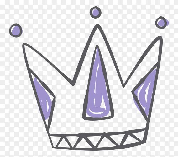 Hand drawn beautiful cartoon crown Premium vector PNG
