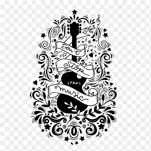 Hand drawn black guitar with ribbon on transparent background PNG