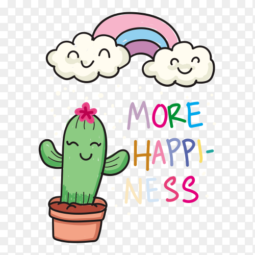 Hand drawn cactus and rainbow t-shirt on transparent background PNG