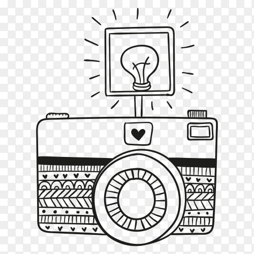 Hand drawn camera illustration Clipart PNG