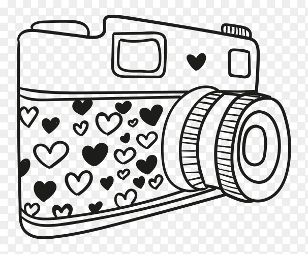 Hand drawn camera illustration Premium vector PNG