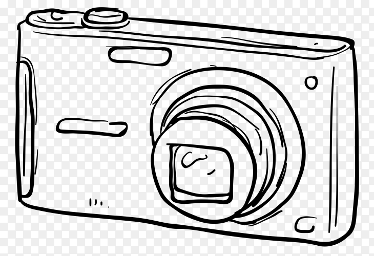 Hand drawn camera illustration on transparent background PNG