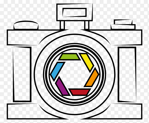 Hand drawn camera illustration vector PNG