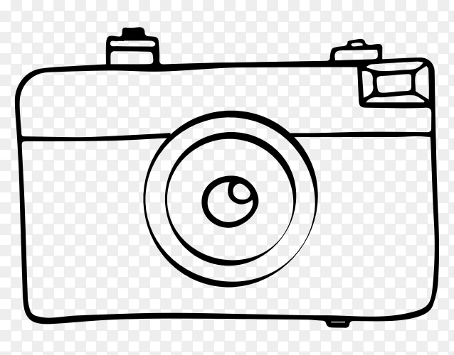 Hand drawn camera style on transparent background PNG