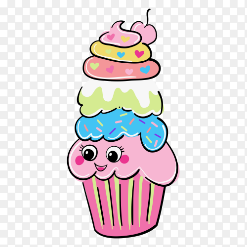Hand drawn cute cupcakes Clipart PNG