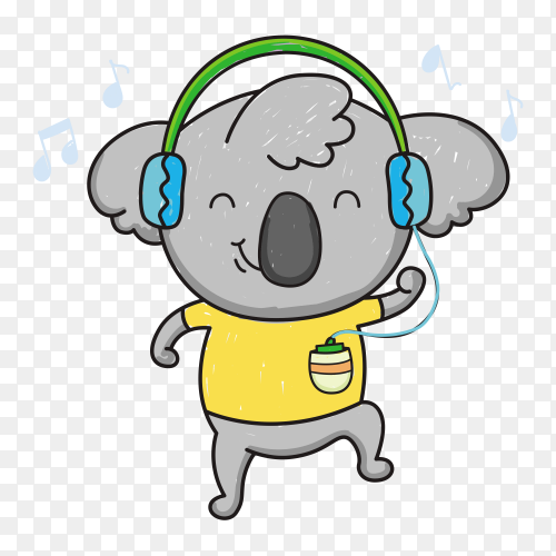 Hand drawn koala Listening music on transparent background PNG