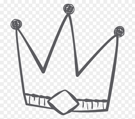 Hand drawn painted crown clipart PNG
