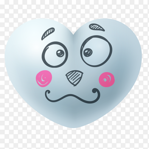 Hand drawn sad heart face shape Premium vector PNG