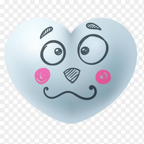 Hand drawn sad heart face shape Premium vector PNG