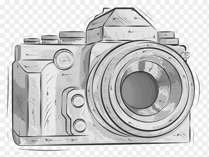 Hand drawn sketch of camera Premium vector PNG