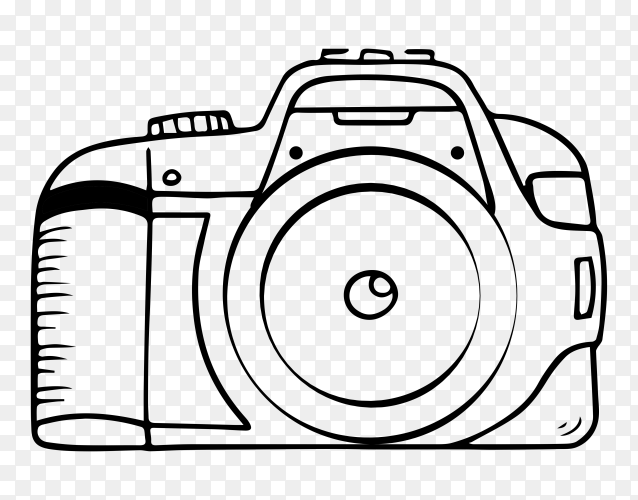 Hand drawn sketch of camera on transparent background PNG