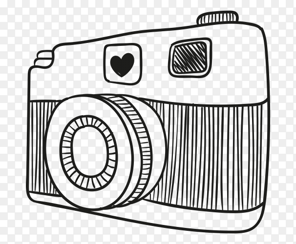 Hand drawn sketch of camera vector PNG