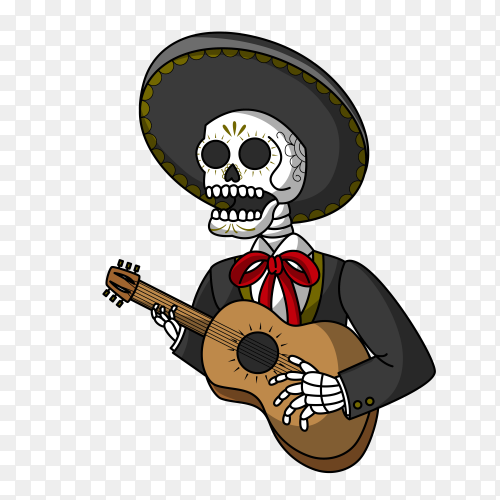 Hand drawn skull playing guitar Clipart PNG