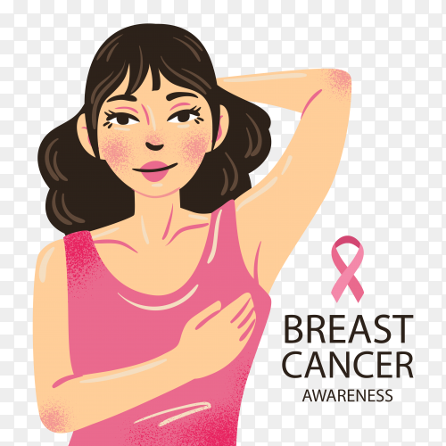 Hand drawn woman breast cancer awareness campaign on transparent PNG