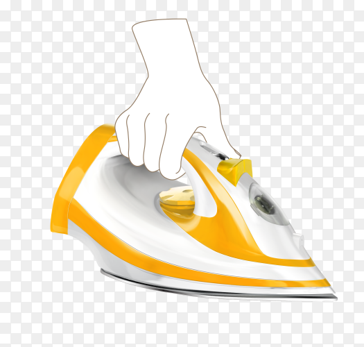 Hand holding orange steam iron on transparent background PNG