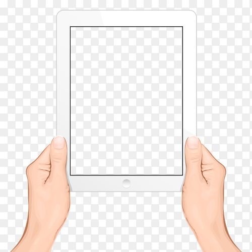 Hand holding white smartphone vector PNG