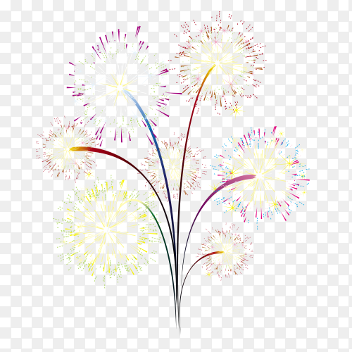 Hand painted fireworks on transparent background PNG