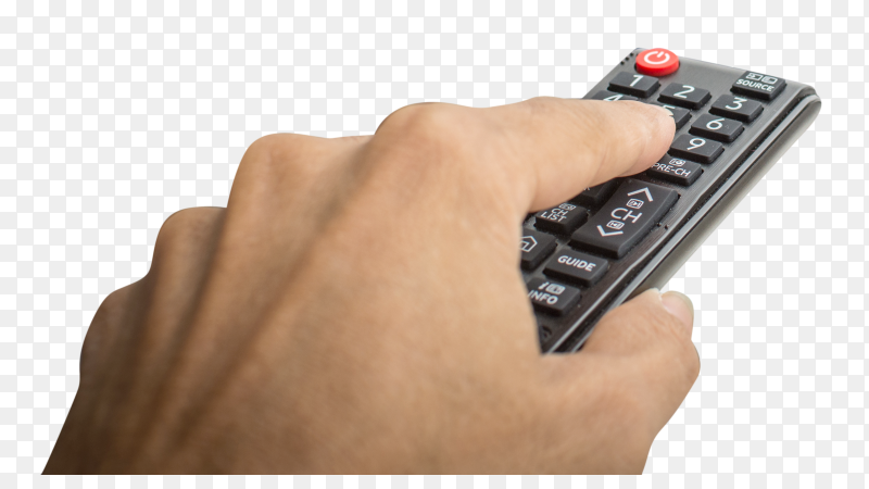 Hand pressing remote of smart tv on transparent background PNG
