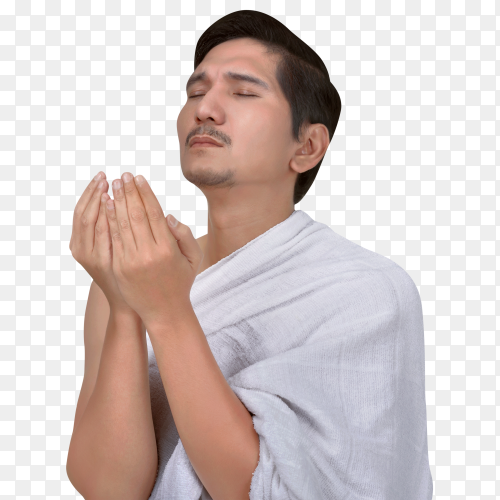 Hand some asian hajj pilgrim praying inside the mosque Clipart PNG