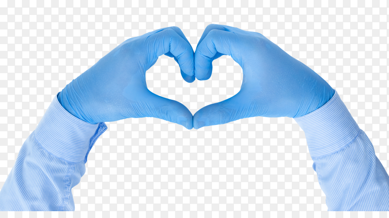 Hands in medical latex gloves hands form a heart shape on transparent background PNG