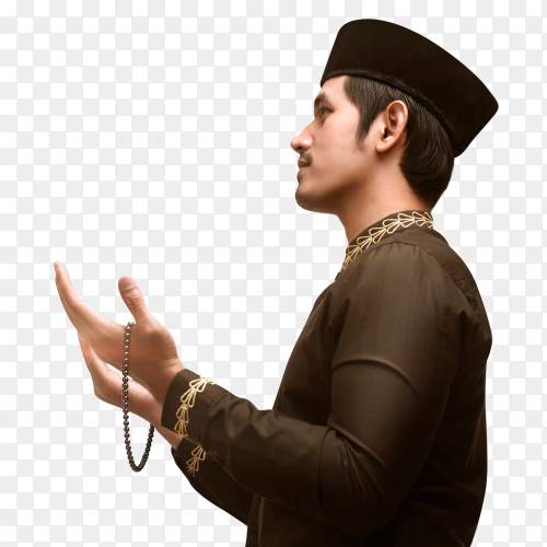 Handsome muslim man with beads praying to god on transparent PNG