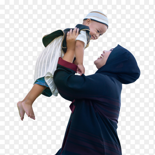 Happy joyful muslim mother having fun throws up her son in the air Clipart  PNG